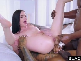 Stunning Canadian chick gets DP'ed by two horny black men