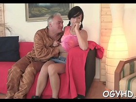 Young babe licked by an old man