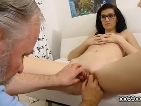 Doctor assists with hymen examination and defloration of virgin kitten
