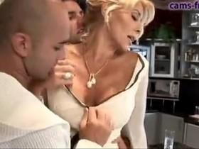 Gorgeous italian blonde MILF DP fuck